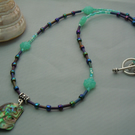 Abalone shell necklace pendant & Czech glass beads