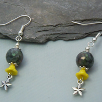 Semi precious Labradite, Czech glass & star charm earrings