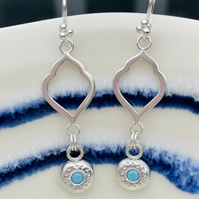 Silver morrocan style drop earrings