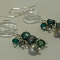 Green Swarovski crystal and pearl earrings - sterling silver