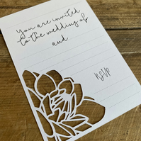 Floral Paper Cut Wedding Invitations