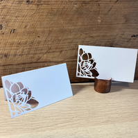 Floral Paper Cut Wedding Place Card
