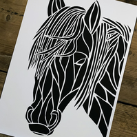 New Forest Pony Paper Cut A4