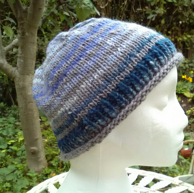 Handknit Noro Roll up Beanie Hat 100% wool Blues and Grey Medium