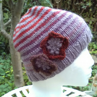 Handknit Noro BFL stripey Hat with flowers Lavender, Reds Purple mix MED
