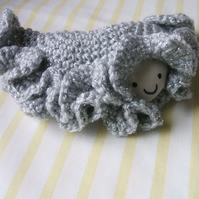 Crocheted soft toy friendly clam - sparkly grey