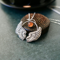 """Angel of the Sun"" Silver Necklace, Fine and Sterling Silver"