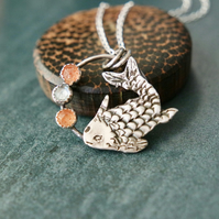 """Koi"" Silver Necklace, Fine and Sterling Silver Sunstones Topaz"
