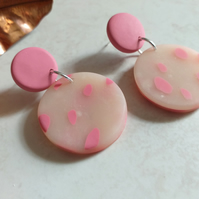 PINK TRANSLUCENT POLYMER CLAY EARRINGS - FREE UK POSTAGE