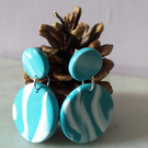 TURQUOISE AND WHITE DANGLE  POLYMER CLAY EARRINGS - - FREE UK POSTAGE