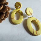 YELLOW MARBLE EFFECT POLYMER CLAY EARRINGS - - FREE UK POSTAGE