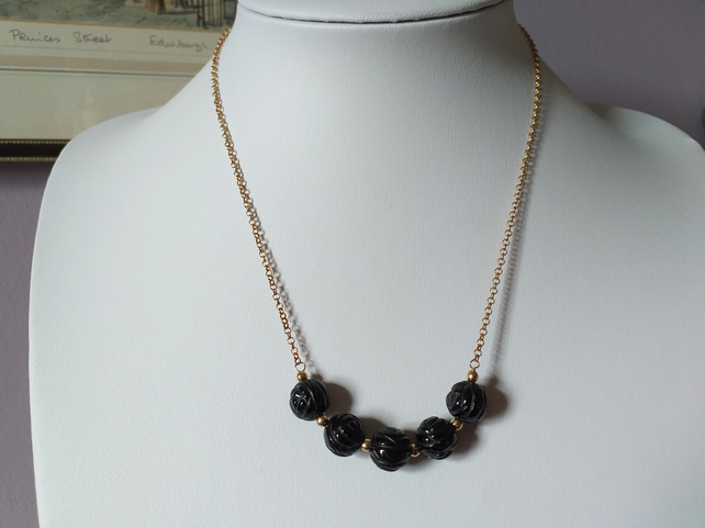 BLACK ROSE NECKLACE-AGATE NECKLACE-FLORAL NECKLACE - FREE UK SHIPPING