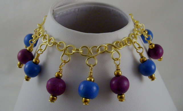 Blue and Purple Charm Bracelet