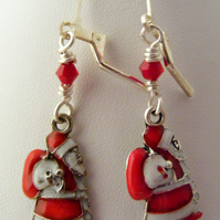 Enamel Santa Earrings.