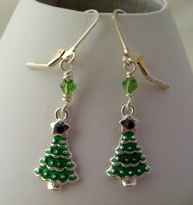 Green Enamel Christmas Tree Earrings