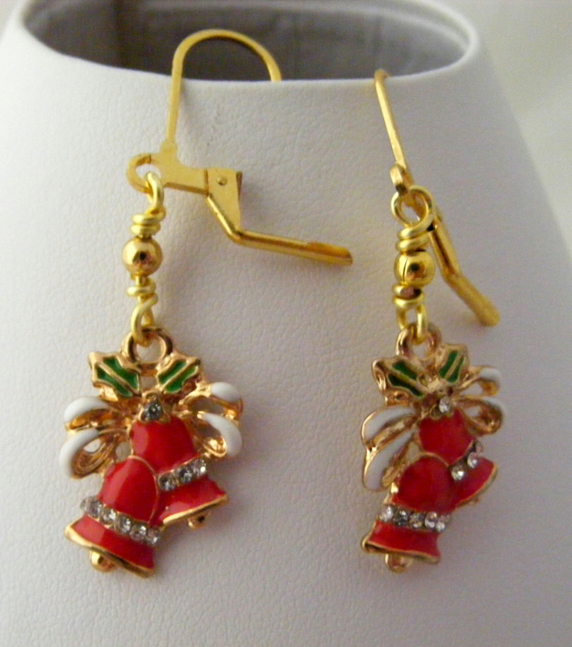 Red Enamel Christmas Bell Earrings.