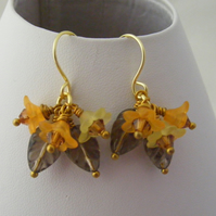 Smokey Quartz Leaves and Lucite Flower Earrings