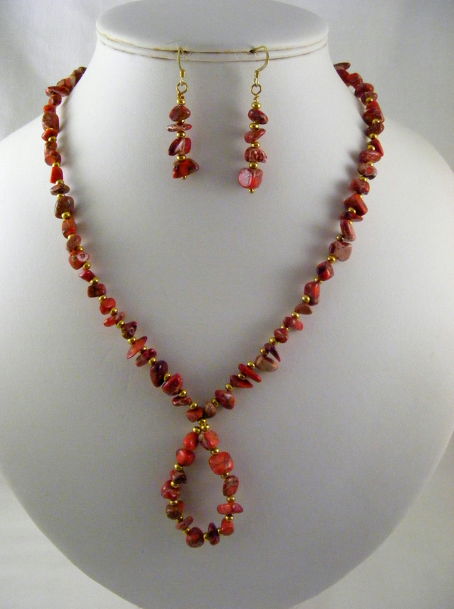 Red and Gold Jasper Gemstone Jewellery Set.