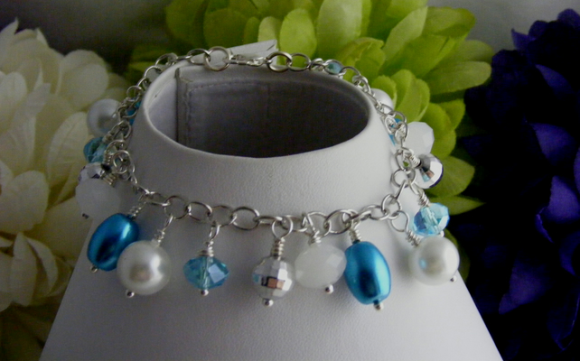 White and Blue Charm Bracelet