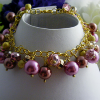 Pink Gold and Brown Charm Bracelet