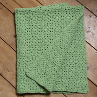 Crocheted Squares Baby Blanket In Spring Green