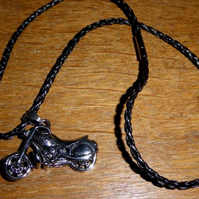 motorcycle, faux leather necklace