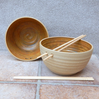 Pair of noodle, soup, salad or rice bowl handmade stoneware wheelthrown pottery