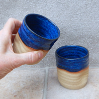 Pair of whisky tumbler or espresso coffee cup in stoneware hand thrown pottery