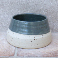 Spaniel dog water food bowl long ears eared hand thrown stoneware pottery
