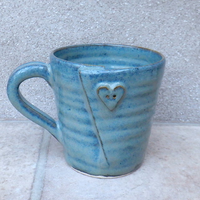 Coffee mug tea cup button hand thrown stoneware pottery ceramic
