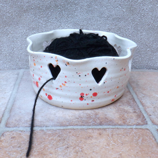 Yarn bowl knitting or crochet wool hand thrown ceramic pottery heart