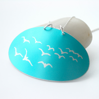 Seagull pendant in turquoise and silver