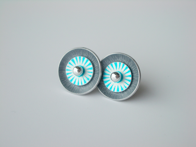 Circle earrings in grey and turquoise