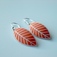 Leaf earrings in bright orange