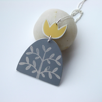 Grey and yellow tree pendant