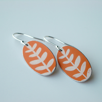 Orange leaf oval earrings