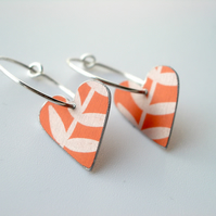 Orange leaf heart hoop earrings