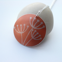 Cow parsley pendant necklace in orange