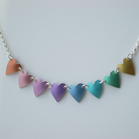 Heart necklace in pastel rainbow colours