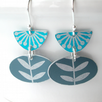 Folk art earrings in turquoise and grey