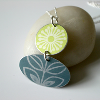 Folk art flower necklace in lime green and grey