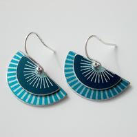 Fan earrings in teal with sunburst pattern