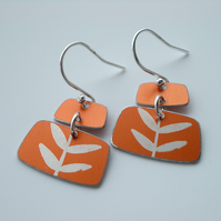 Mid century style rectangle earrings in orange with leaves