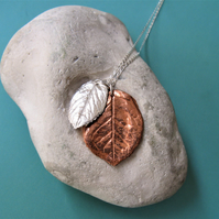 Silver and copper rose leaf necklace
