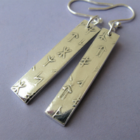 Hallmarked fine silver rectangle rune earrings