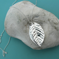 Hallmarked fine silver rose leaf necklace