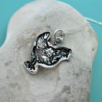 Silver chicken necklace
