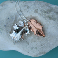 Silver and copper holly leaf necklace
