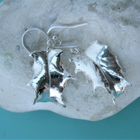 Hallmarked silver holly leaf earrings