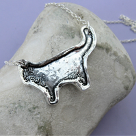 Hallmarked cat silhouette necklace